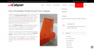 Calspan Press Release (from https://www.calspan.com/new-all-weather-flutter-exciter/, 2020-02-21)