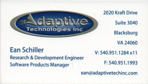 Business card: Ean Schiller, Adaptive Technologies Inc., R&D Engineer, Software Products Manager