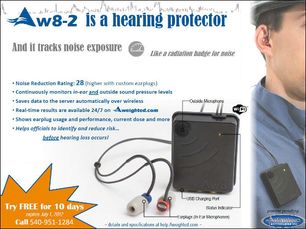 Aw8-2 is a hearing protector, Aweighted.com tracks noise exposure