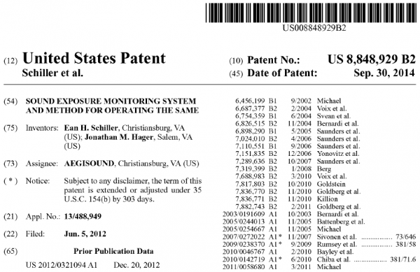Issued Patent US8848929 Sound Exposure Monitoring System and Method for Operating the Same